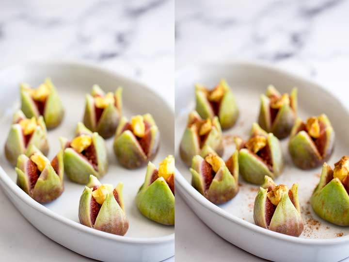 split picture showing the cut figs with butter and cinnamon