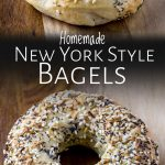 two pictures of bagels with text between them