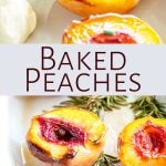 two pictures of roasted peaches with text between them