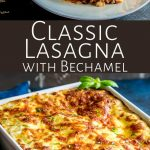 two pictures béchamel lasagna with text in the middle