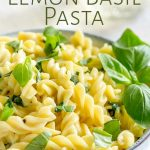 close up of the lemon basil pasta with text at the top