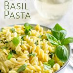 blue bowl of pasta with text in the top left