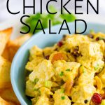 overhead of curry chicken salad with text at the top