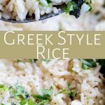 two pictures of greek rice with text in the middle