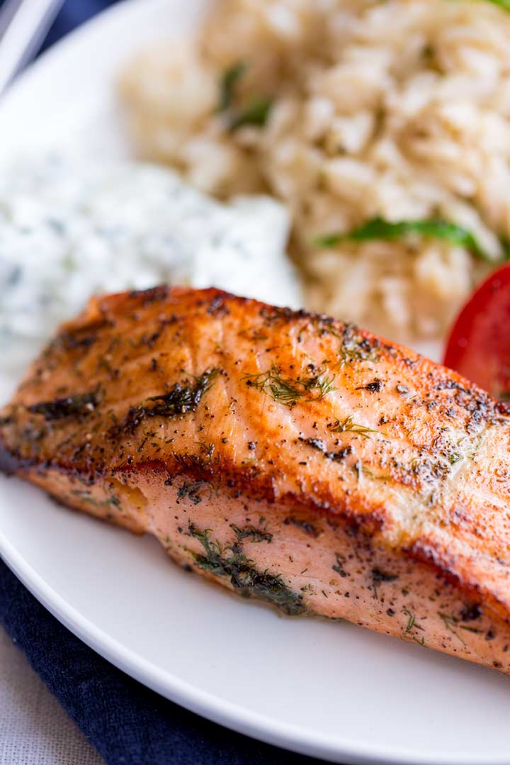close up on the crispy exterior of the greek salmon