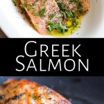 two pictures of greek salmon with text in the middle