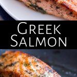 two cooked salmon pictures with text between them