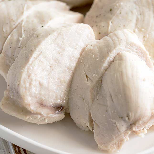 close up on the juicy slice of chicken