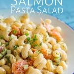a white bowl of pasta salad with text at the top