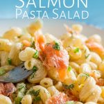 close up on a fork of pasta salad with text at the top