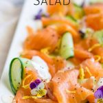 close up on the smoked salmon salad with text at the top