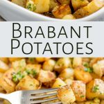 two pictures of Brabant potatoes with text between them