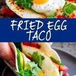 two pictures of egg tacos with text in the middle