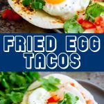 two pictures of open egg tacos with text in the middle