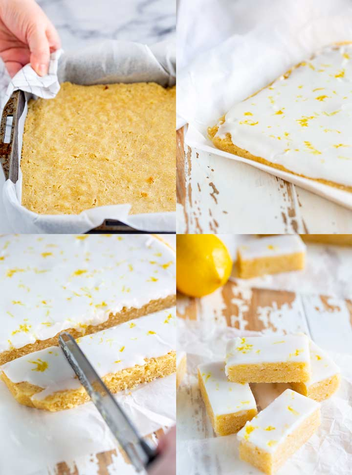 4 pictures showing the stages for making lemon brownies