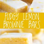 two pictures of lemon brownies with text in the middle