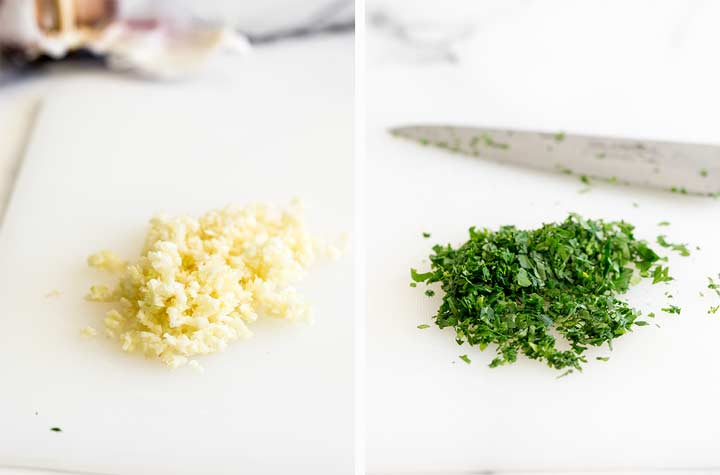 two pictures, one of minced garlic and one of chopped parsley