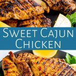 two pictures of cajun chicken with text in a teal box