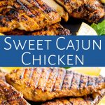 two pictures of cajun chicken with text in a blue box