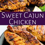 two pictures of cajun chicken with text in a purple box