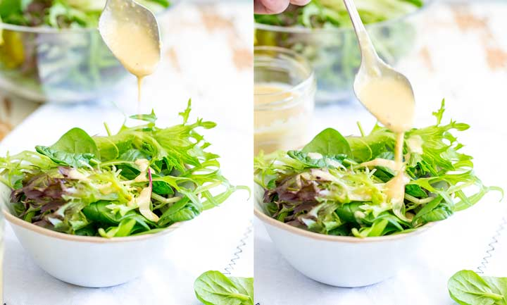 two pictures of dressing being drizzled on to mixed leaves