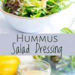 two pictures of salad dressing with text in the middle