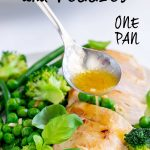 garlic sauce spooned over sliced chicken breast with text at the top
