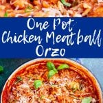 two pictures of meatball orzo with text in the middle