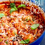 meatball orzo with text in the top right