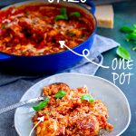 meatball orzo on a plate with text at the top