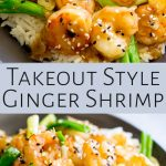 two pictures of ginger shrimp with text in the middle