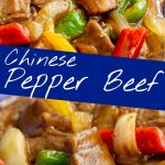 Two pictures of Chinese pepper beef with text in the middle