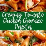 Two pictures of chicken pasta with text in the middle