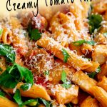 chicken chorizo pasta with text at the top