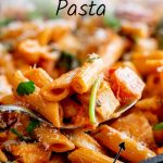 chicken chorizo pasta with text at the top and bottom