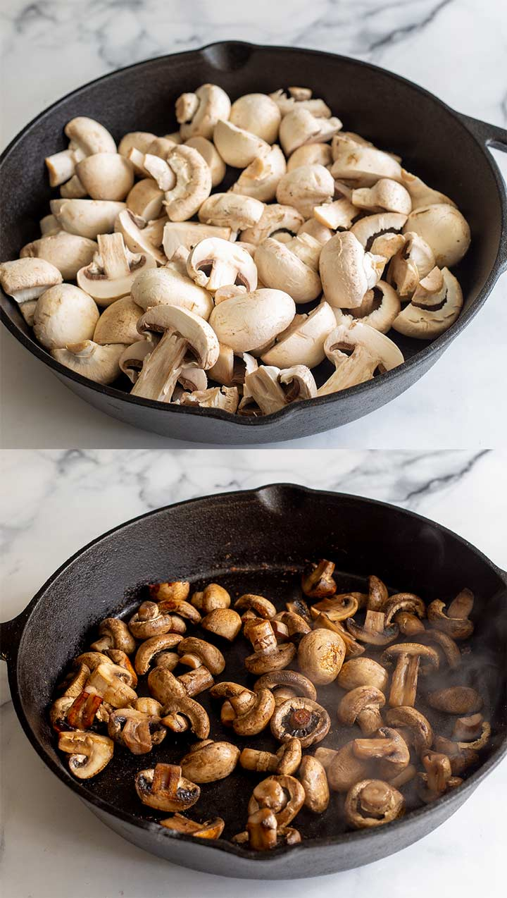 two pictures showing uncooked and cooked mushrooms