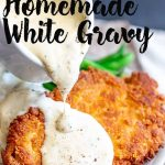 Crispy chicken and white gravy with text at the top
