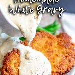 Crispy chicken and white gravy with text at the top and bottom
