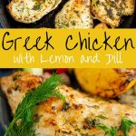 Two pictures of cooked greek chicken with text in the middle