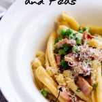 Pinterest image - creamy bacon pasta with text at the top