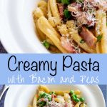 Pinterest image - creamy bacon pasta with text in the middle