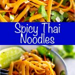 two pictures of Thai noodles with text in the middle