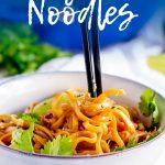 Pinterest Image - bowl of thai noodles with text at the top