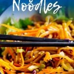 Pinterest Image - pan of thai noodles with text at the top