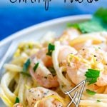 picture of lemon shrimp pasta with text at the top and bottom