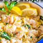 picture of lemon shrimp pasta with text at the top