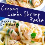 two pictures of lemon shrimp pasta with text in the middle