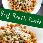 two pictures of pasta in beef broth with text in the middle