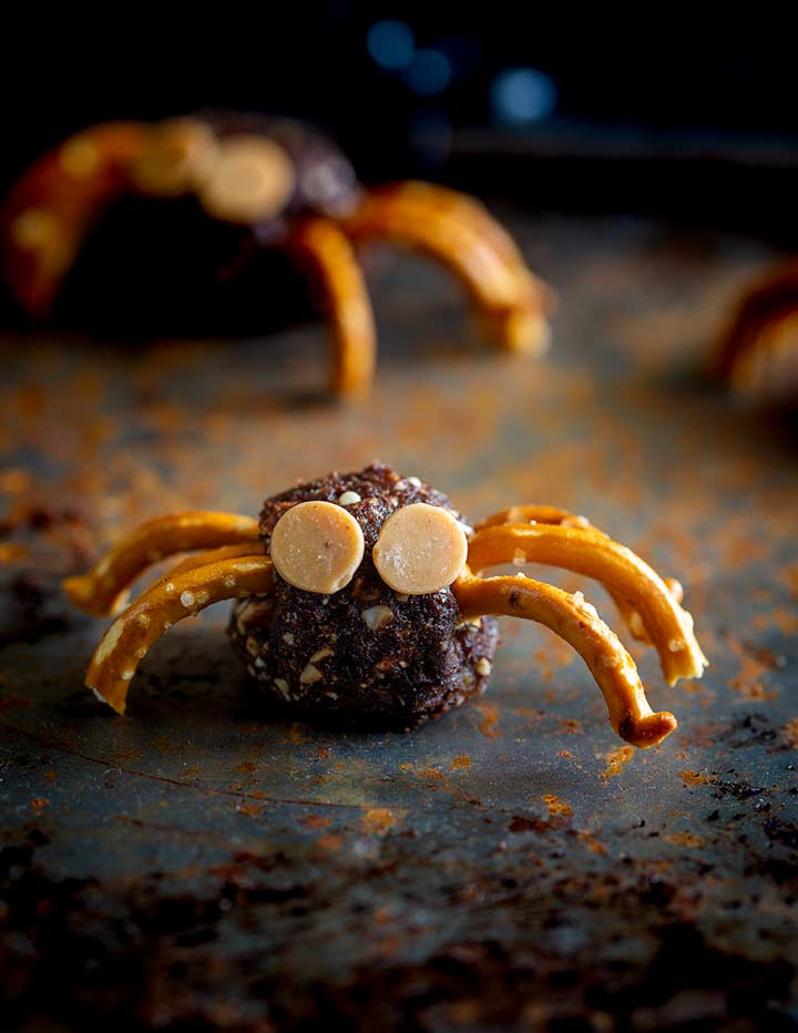 face on view of a bliss ball bug with pretzel legs and caramel chip eyes