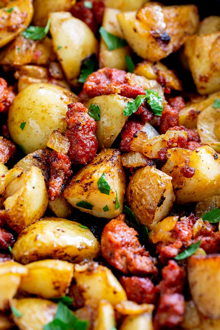 close up on the crispy fried potatoes in the chorizo hash